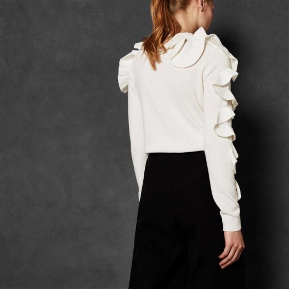 fc38ef1aa Ted Baker Pallege Frill Sleeve and Shoulder Jumper Ivory Sweater - Tradesy