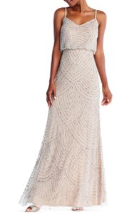 Adrianna Papell Blush Polyester Embelished Blouson Beaded Gown Formal Bridesmaid/Mob Dress Size 4 (S)