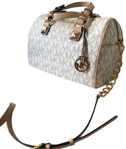 Michael Kors Satchel in White, Cream, and Gold
