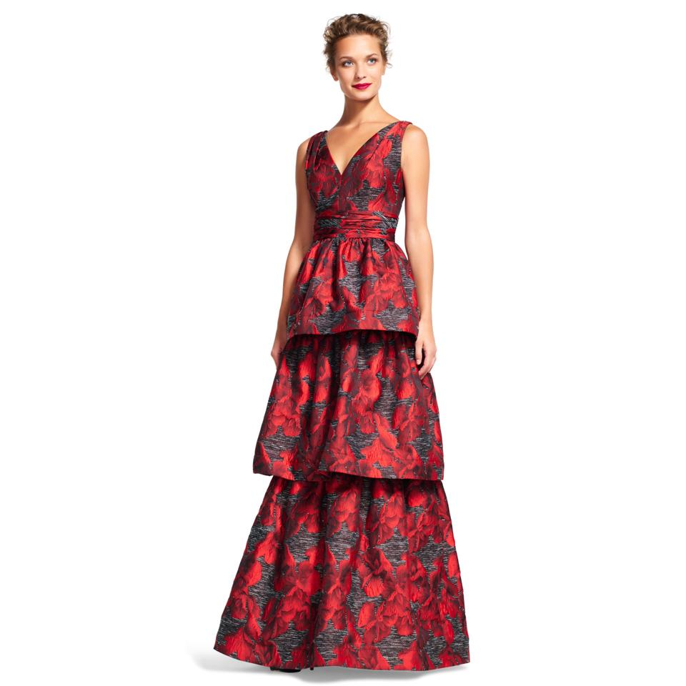 Adrianna Papell Red Black Tiered Orchid Jacquard Print Gown Long ...