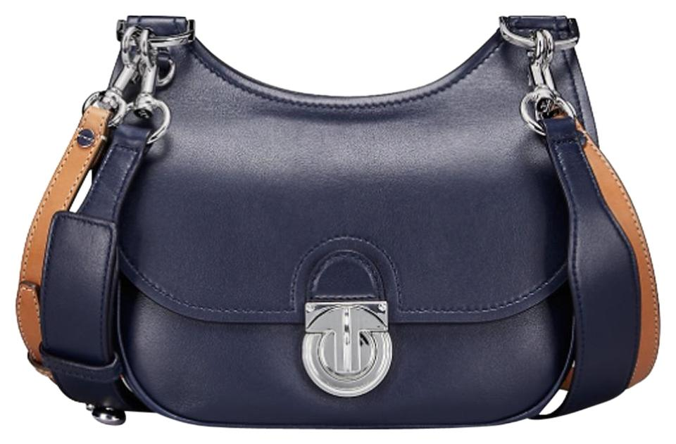be791d05315f Tory Burch James Small Saddle Navy Leather Cross Body Bag - Tradesy