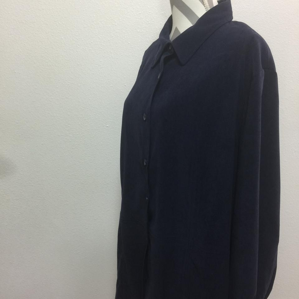a47a45cf5 dressbarn Blue Button Up Over Shirt Button-down Top Size 20 (Plus 1x ...