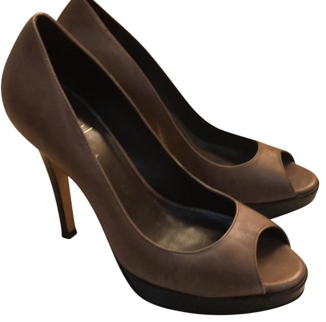 Item - Dark Taupe Open Toe High Heels Platforms Size US 6.5 Regular (M, B)