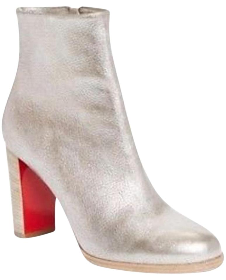 416410512a6e Christian Louboutin Grey (Silver) Adox 85 Metallic Leather Ankle Heels Boots  Booties