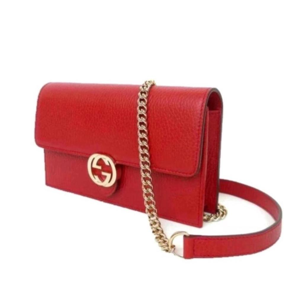 a857721daad Gucci Chain Wallet Icon Gg Red Leather Cross Body Bag - Tradesy