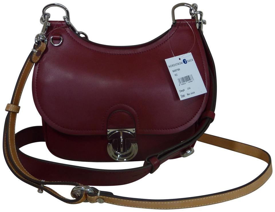 3635aa9f2dd7 Tory Burch James Small Saddle Red Leather Cross Body Bag - Tradesy