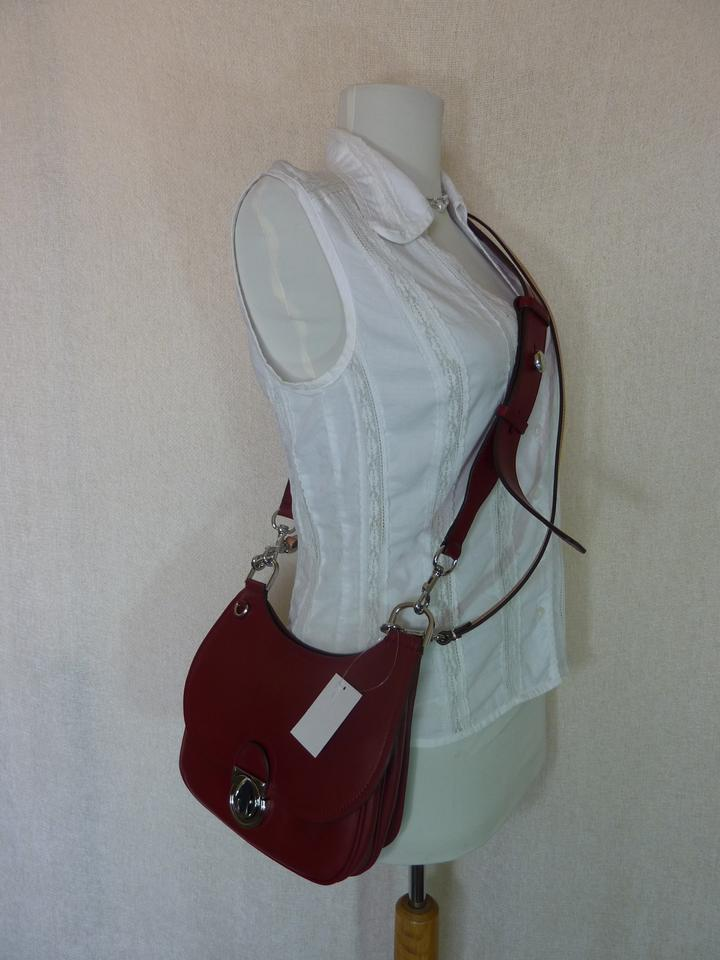 a6adcf20efe21 Tory Burch James Small Saddle Red Leather Cross Body Bag - Tradesy