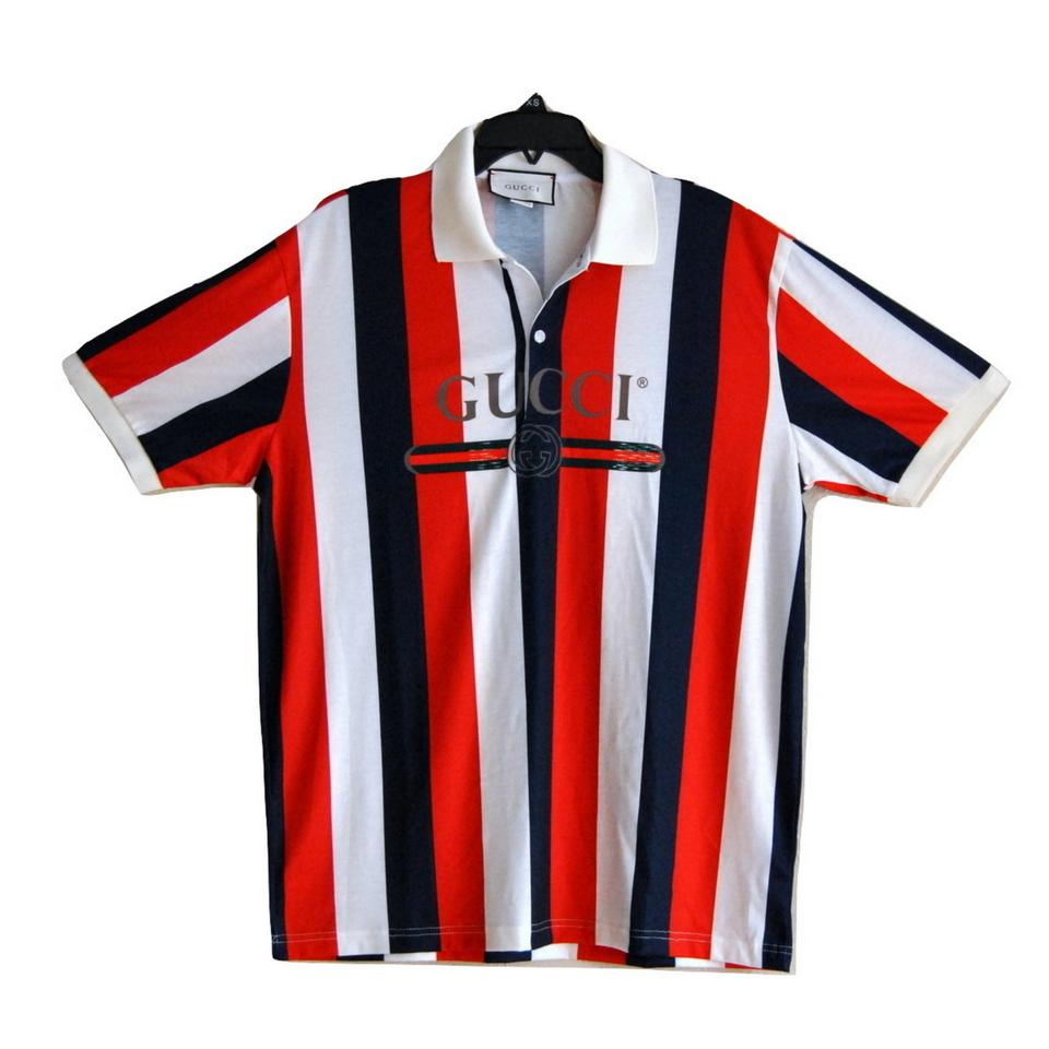 Gucci Red Blue Mens Striped Polo Shirt With Vintage Logo Button