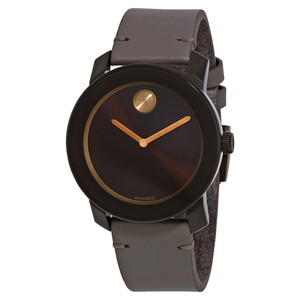 Movado Bold Sunray Dial Leather Men's Watch