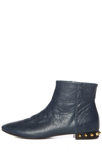 Item - Navy Leather Round Toe Ankle Boots/Booties Size EU 40.5 (Approx. US 10.5) Regular (M, B)
