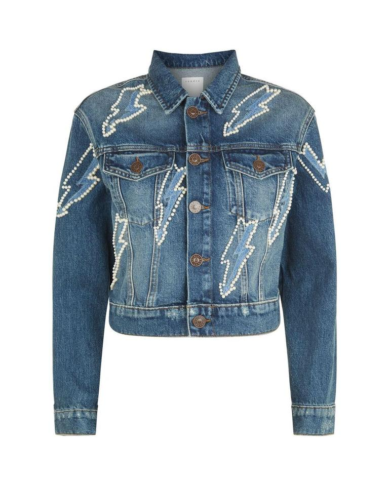 6d33e2aa2 Sandro Blue New S Pearl Embellished Lightning Bolt Jean Jacket Size ...
