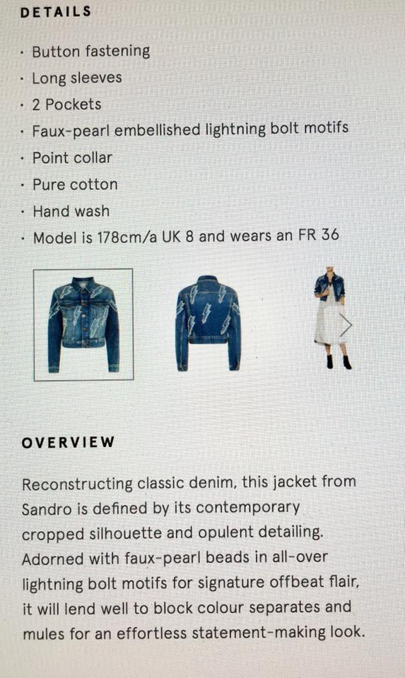 99fac31bd Sandro Blue New S Pearl Embellished Lightning Bolt Jean Jacket Size 6 (S) -  Tradesy