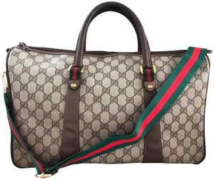 e9907bc53f Gucci Accessory Collection Made In Italy Monogram Leather Brown Travel Bag