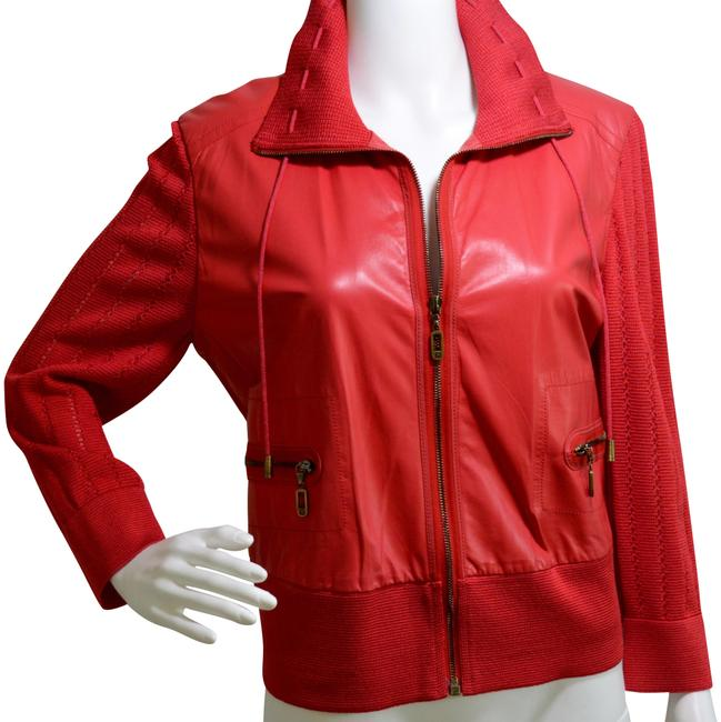 Item - Red Lambskin Knitted Jacket Size 8 (M)