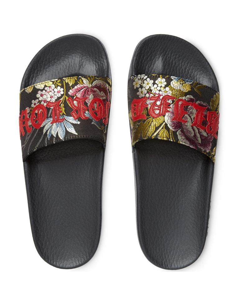 bbdfc7f18263 Gucci Black Red Purple Green Blind For Love Floral Bouquet Flats B061  Sandals