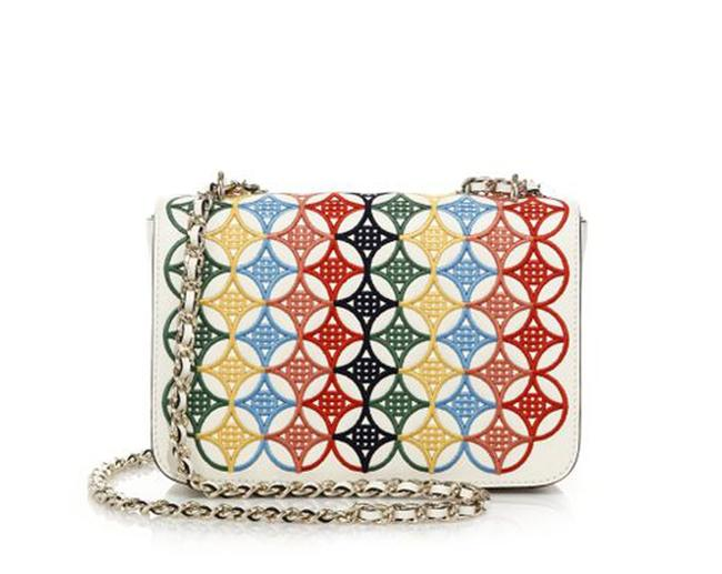 Item - Embroidered Messenger Robinson Ivory/Multicolor Saffiano Leather Cross Body Bag