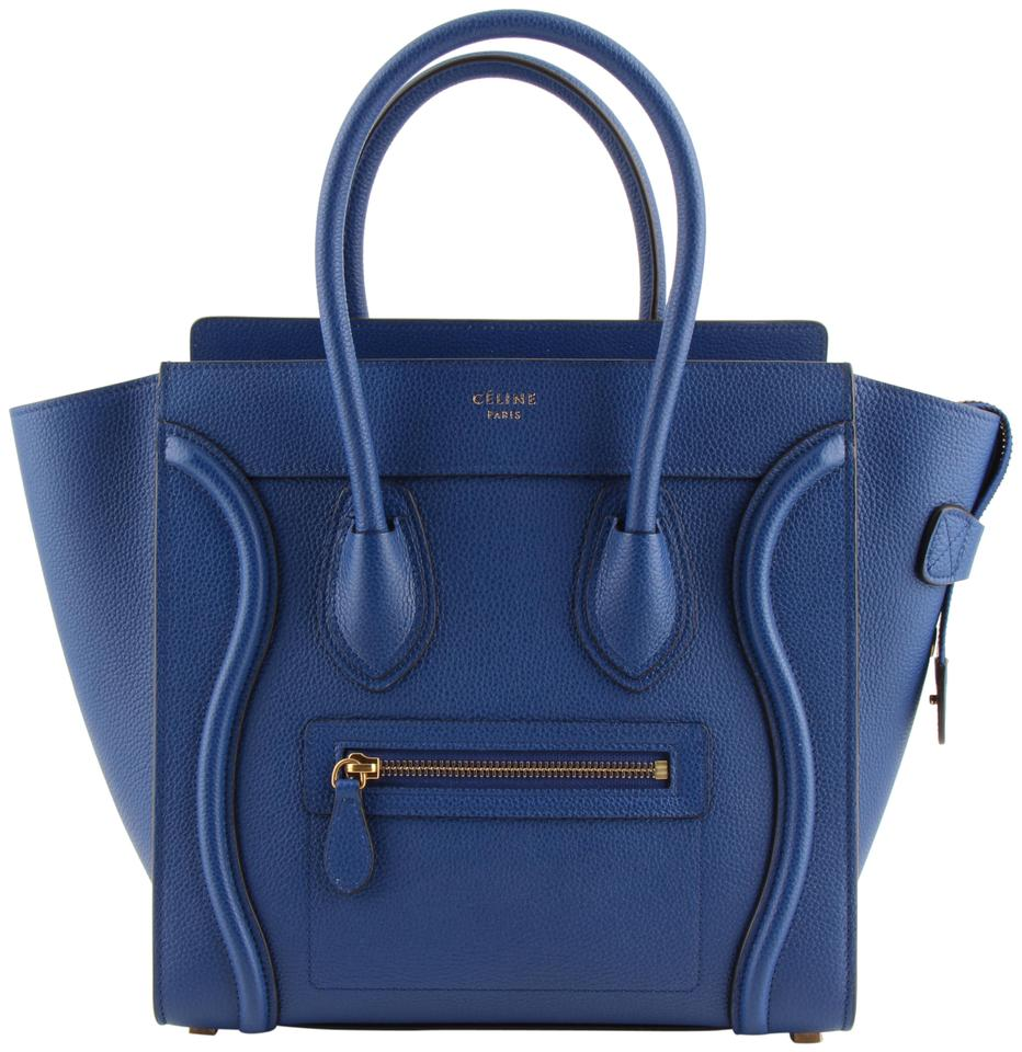 d5496c1366 Céline Luggage Drummed Micro Tote Blue Calfskin Leather Shoulder Bag ...