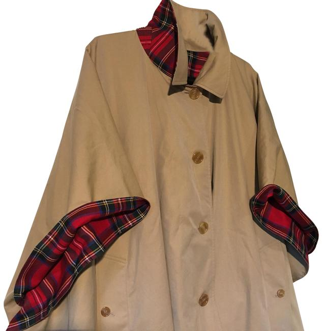 Item - Red/Tan New Greymere Plaid/Check Reversible Trench Tartan Jacket Coat Poncho/Cape Size 10 (M)