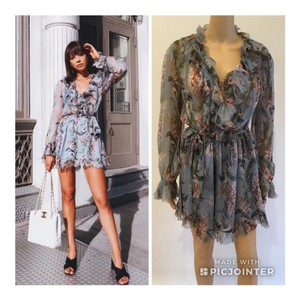 ZIMMERMANN Winsome Floral Ruffle Playsuit Sexy Dress