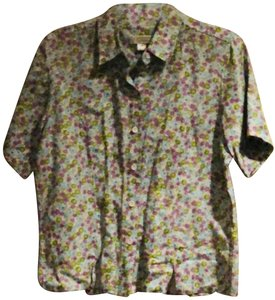 Christopher & Banks Button Down Shirt Lilac light green and blue