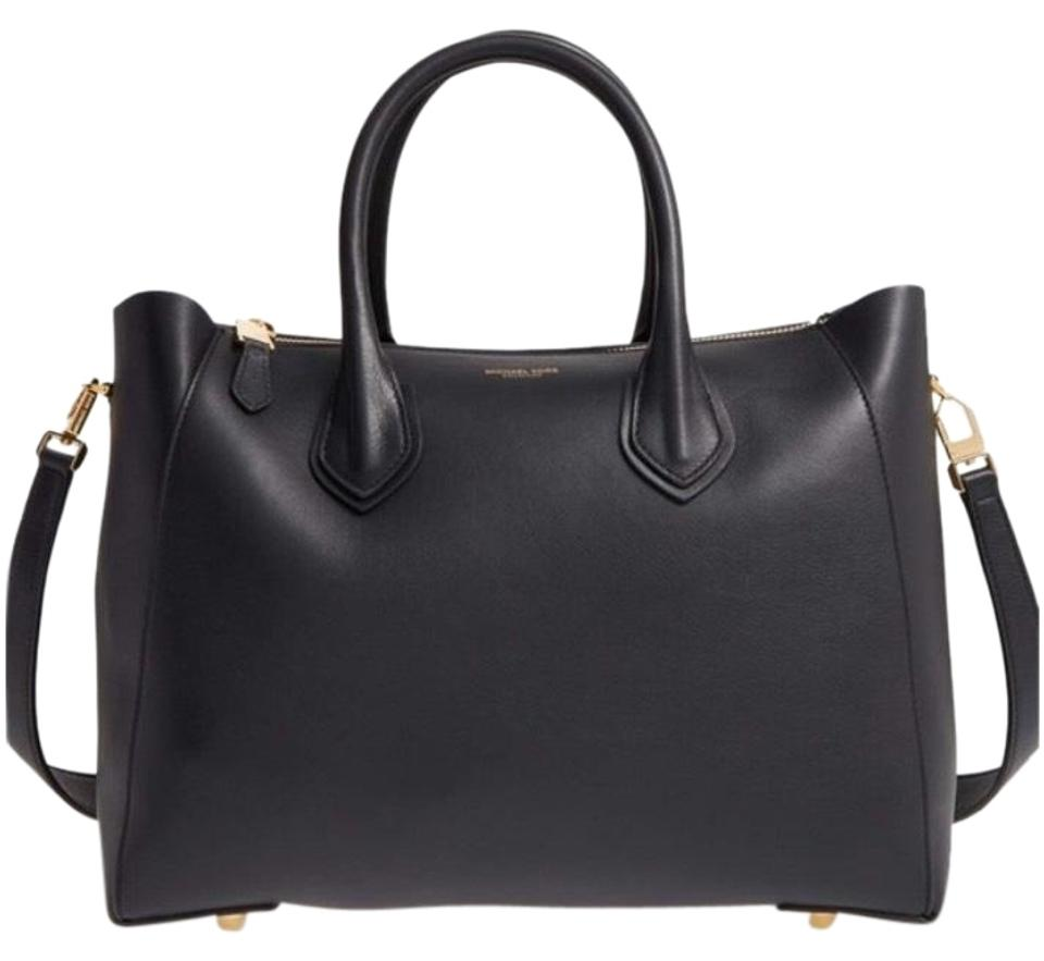 284251363bd2 Michael Kors Collection Helena French Calf Black Calfskin Leather Satchel
