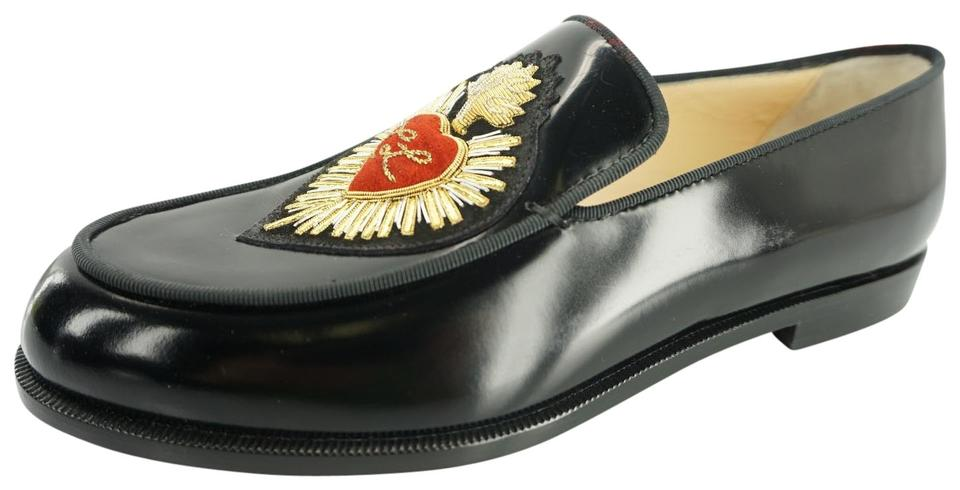 b893f2d2a77 Christian Louboutin Black Leather Perou Corazon Penny Loafers Gold Heart  Logo Flats