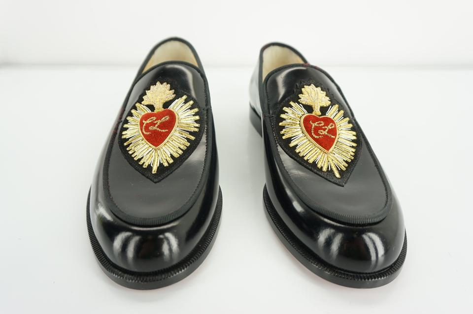 cb5e25e7174 Christian Louboutin Black Leather Perou Corazon Penny Loafers Gold Heart  Logo Flats Size EU 36 (Approx. US 6) Regular (M