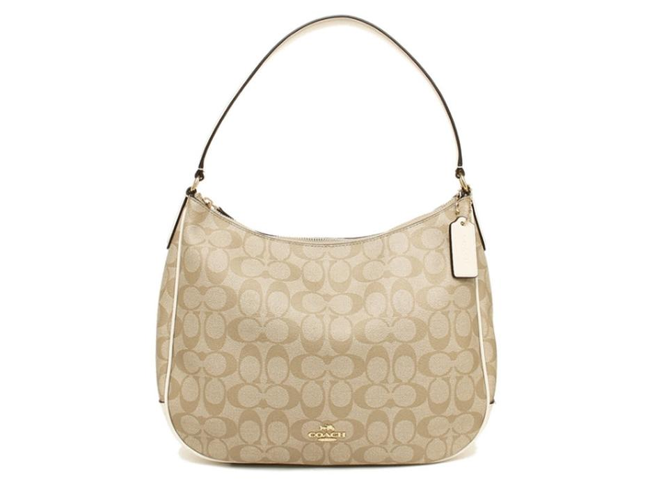 Coach Harley F29209 Zip Shoulder White Leather Canvas Hobo Bag 64 Off Retail