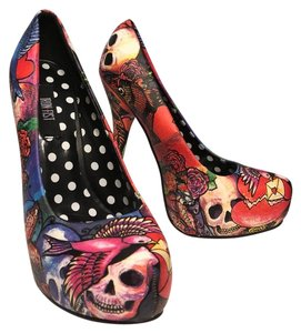 Iron Fist Tattoo Floral Unique Graphic Red, Pink Pumps