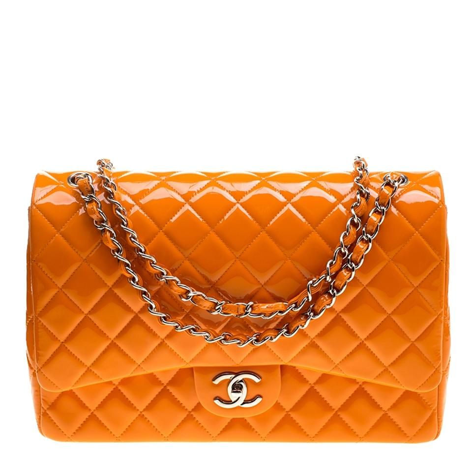 0506c4e04f49 Chanel Classic Flap Quilted Maxi Classic Double Orange Patent Leather   Leather  Shoulder Bag