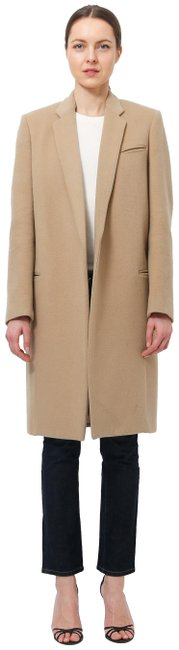 Item - Camel Felted Wool Crombie Straight Coat Size 6 (S)