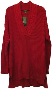 Lauren Ralph Lauren Cotton Cable Knit Detail High Low Hem New With Tags Sweater
