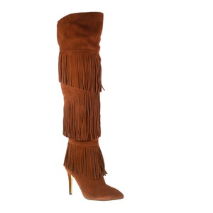 Kristin Cavallari Suede Leather Fringe Over The Knee Brown Boots