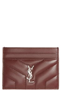 Saint Laurent NEW Saint Laurent Loulou Monogram Dark Red Card Case Holder