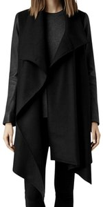 AllSaints Hyde Monument Leather Sleeves Wool Pea Coat