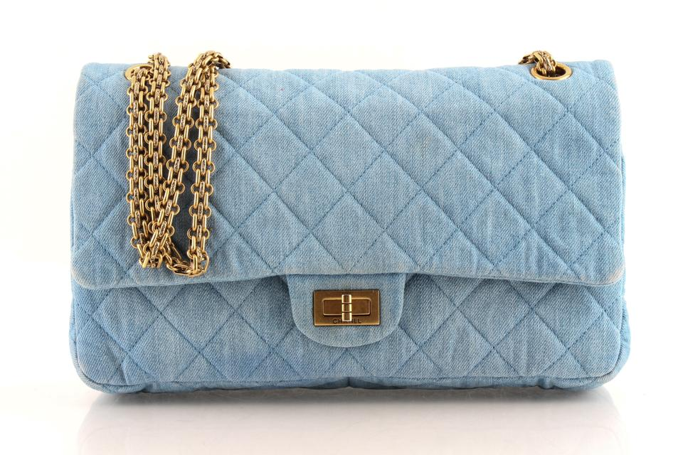 Chanel 2.55 Reissue Classic Flap 226 Double Light Blue Denim ... 17ec188ccc