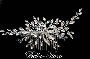 Bella Tiara Crystal Silver Swarovski Comb Side Comb Hair Accessory