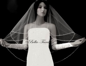 Bella Tiara Ivory Medium Beaded Crystal Bridal Veil