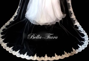 Bella Tiara Ivory Long Beaded Lace Cathedral with Blusher Bridal Veil