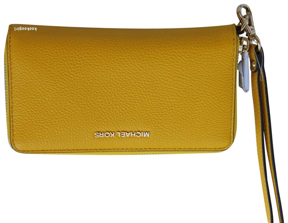 7ff814c1d37c MICHAEL Michael Kors Sunflower Mercer Large Flat Multifunction Phone Case  Yellow Leather Wristlet