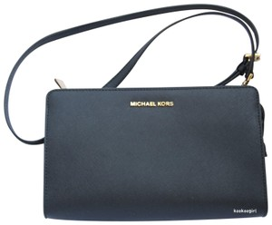 Michael Kors Crossbody Convertible Saffiano Leather Black Clutch