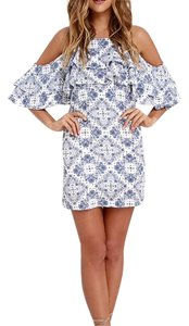 Lulu*s short dress white and blue on Tradesy