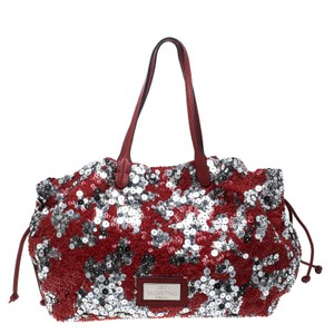Valentino Tote in Red/Silver