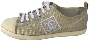Chanel Sneakers Leather Interior Metallic Gold Athletic
