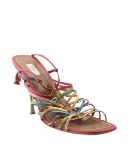 Prada Leather Heels Sandals Multi-Color Platforms