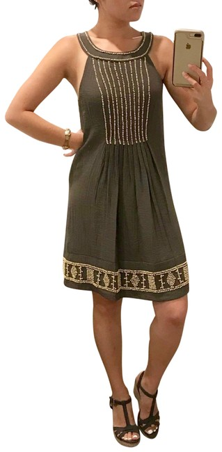 Item - Olive Green Halter Beaded Sheath Mid-length Short Casual Dress Size 4 (S)