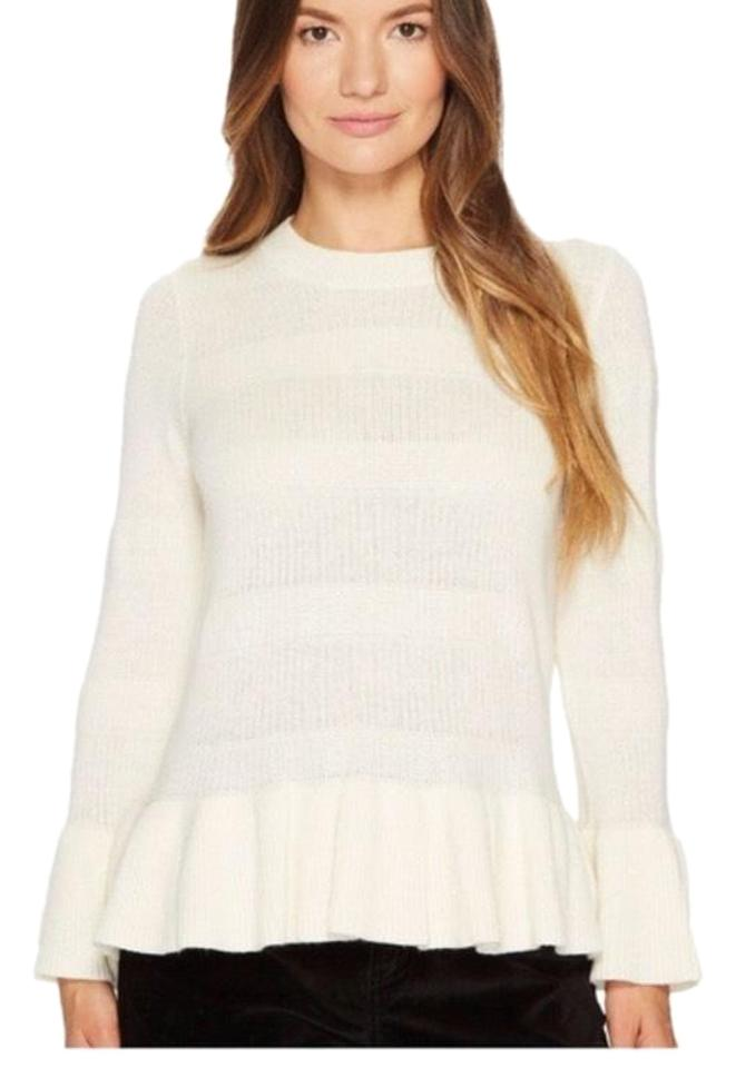 Kate Spade Bell Sleeve Peplum Cashmere Cream Sweater 64% off retail