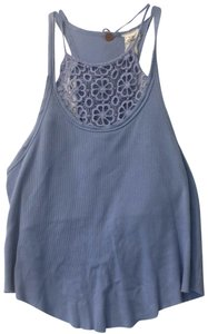 Free People Embroidered Halter Sleeveless Floral Spring Top Purple