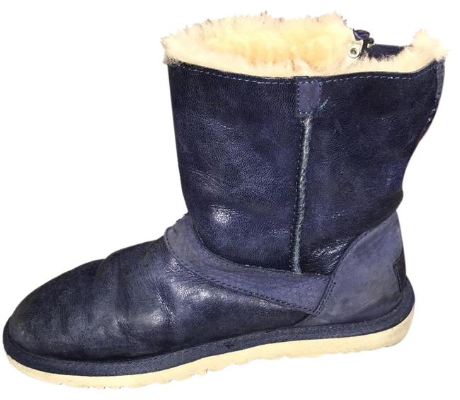 Item - Blue Leather & Shearling Ankle Boots Flats Size US 5 Regular (M, B)