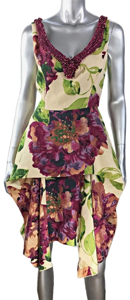 TRELISE COOPER Beige Peony Tail Floral Big Love Short Night Out Dress Size  10 (M)